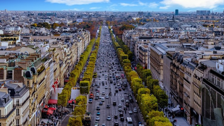 Paris, France - Champs Elysees cityscape. View from Arc de Triomphe. Blue sky with clouds in autumn; Shutterstock ID 456912079; Departmental Cost Code : 162800; Project Code: GBLMKT; PO Number: GBLMKT; Other: